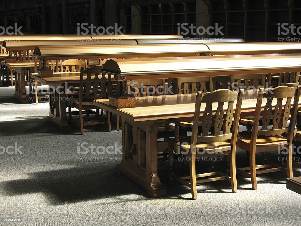 Series of wood tables and chairs royalty-free stock photo
