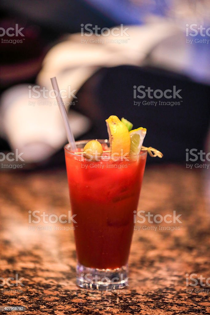 Series: Popular Bloody Mary cocktail on granite bar top stock photo
