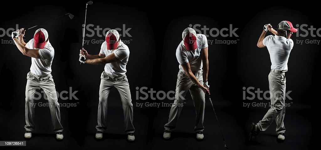 Series Shot of Man Swinging Golf Club on Black royalty-free stock photo