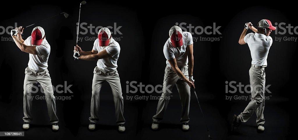 Series Shot of Man Swinging Golf Club on Black stock photo