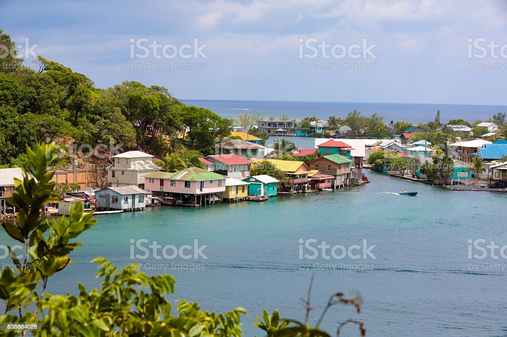 Series:Honduran island of Roatain in the Caribbean stock photo