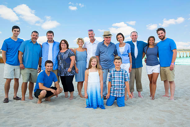 Series:Large family having a reunion at public beach ストックフォト