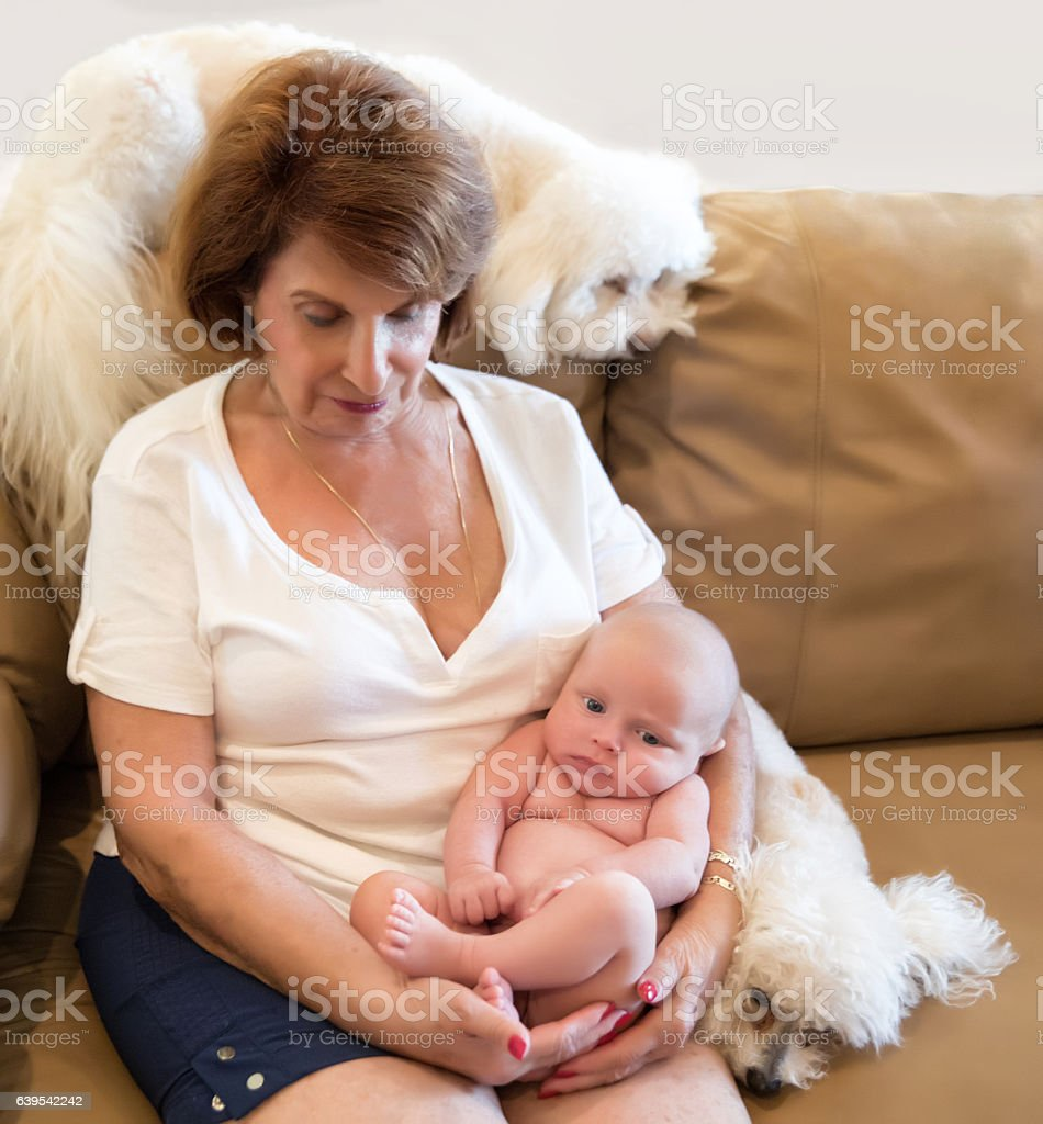 Seriesproud Grandmother Holds Six Week Old Naked Grandson -4487