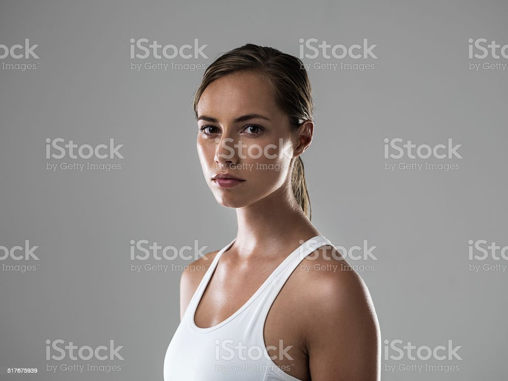 Serious about getting fit stock photo