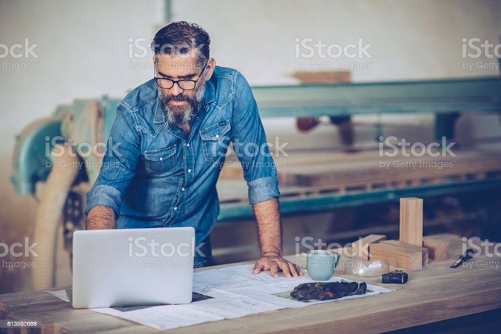 Serious about his business stock photo