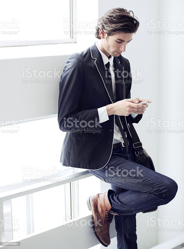 Serious about his text stock photo