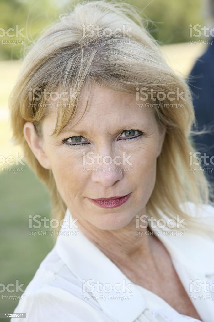 Serious Adult Woman Looking At The Camera royalty-free stock photo