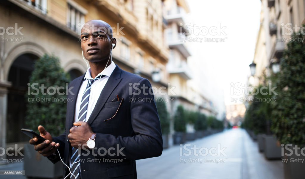 Serious African businessman stock photo