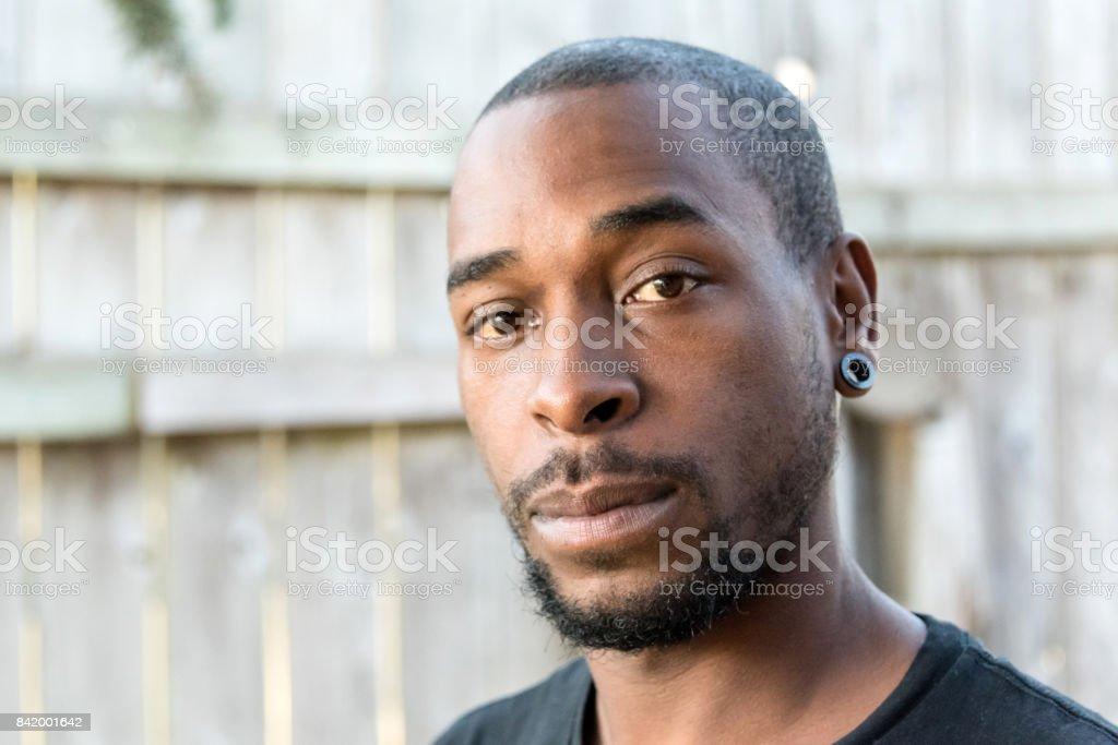 Serious afro caribbean man stock photo