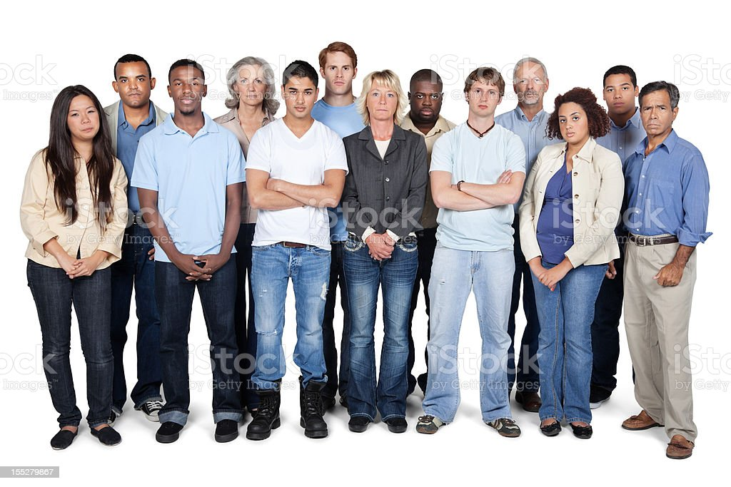 Serious and diverse group of people on white background stock photo