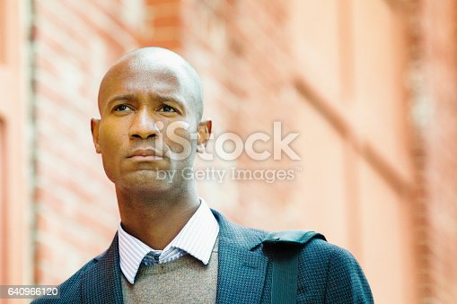istock Serious black office worker in his 30s commuting 640966120