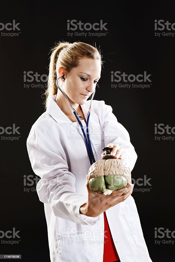 Serious blonde medical professional listening to model brain with stethoscope stock photo