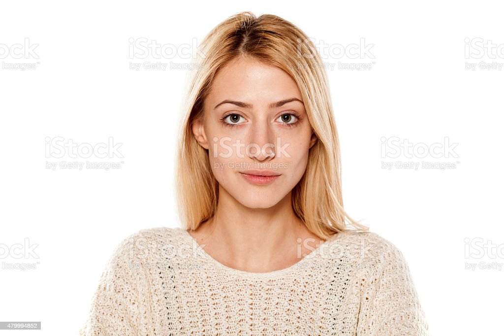 serious blonde without make up stock photo
