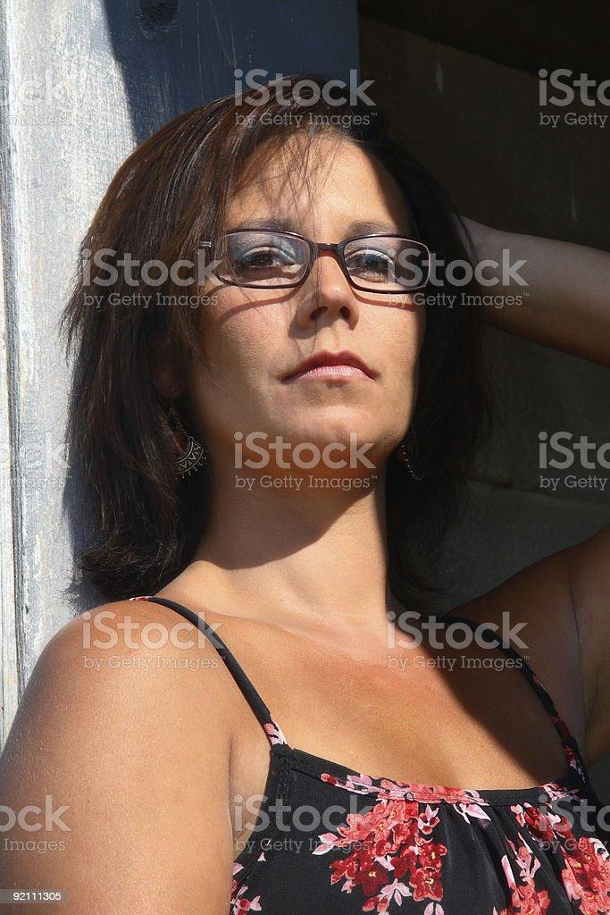 Serious Brunette in Sundress royalty-free stock photo