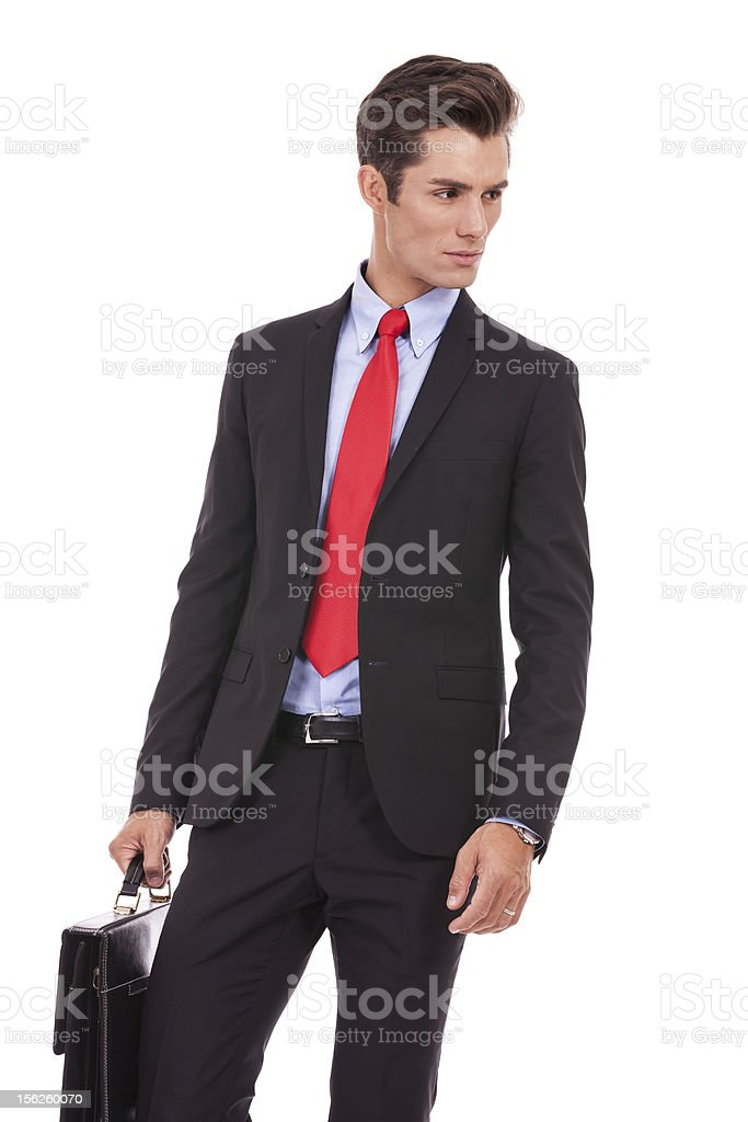 serious business man looking to his side royalty-free stock photo