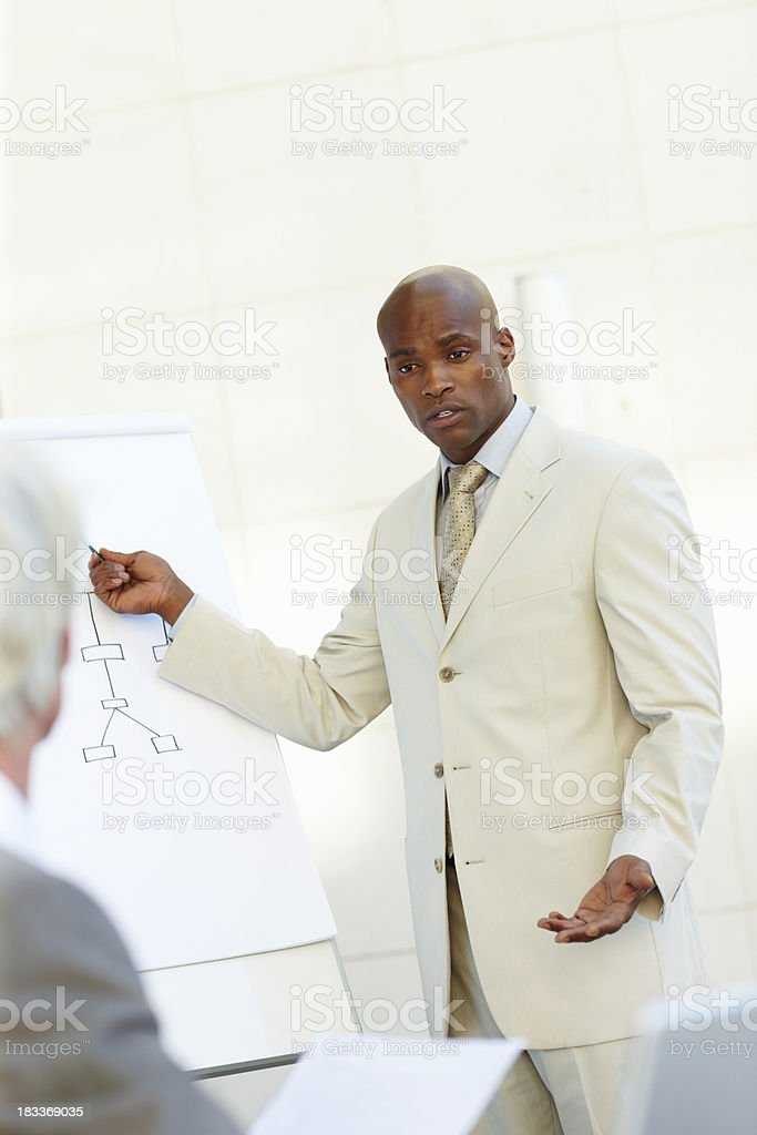 Serious business man showing a graph royalty-free stock photo