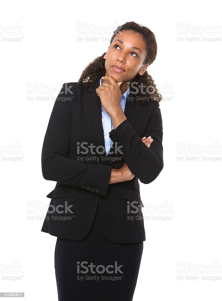 Serious business woman thinking stock photo