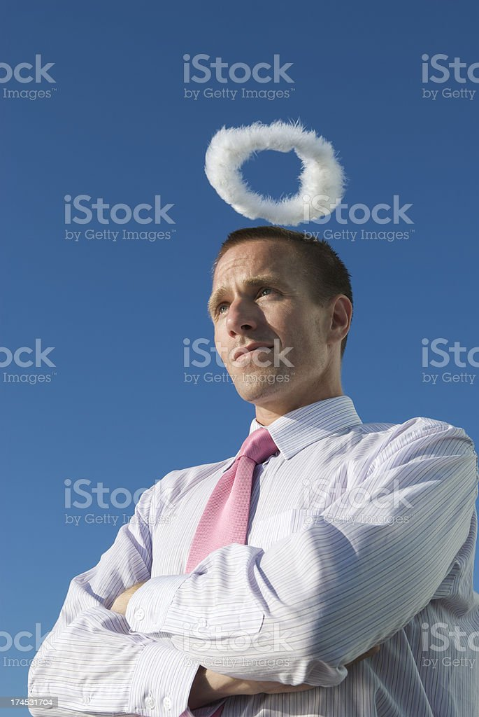 Serious Businessman with Halo royalty-free stock photo
