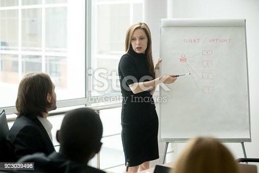 1085713886istockphoto Serious businesswoman giving presentation to multi-ethnic business group with flipchart 923039498