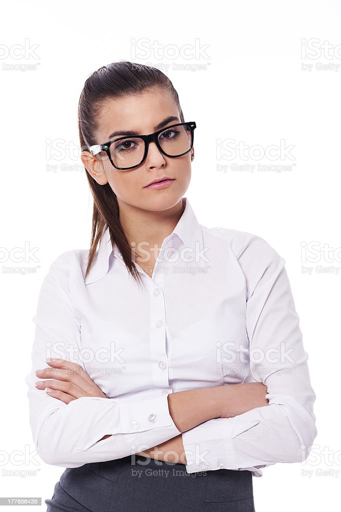 Serious businesswoman in glasses royalty-free stock photo