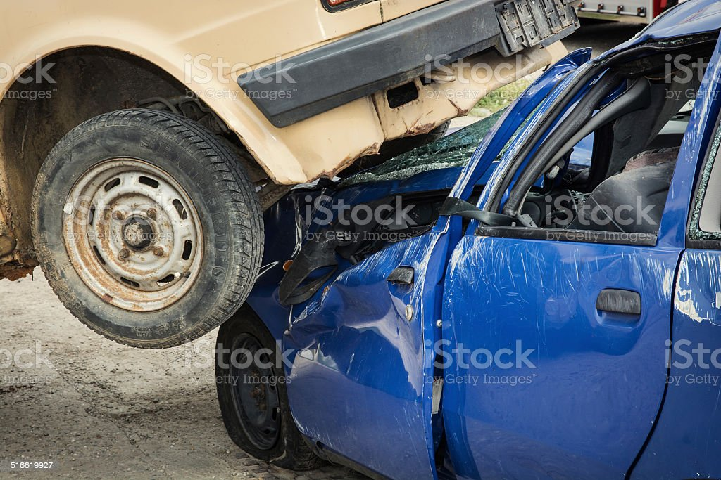 Serious car accident stock photo