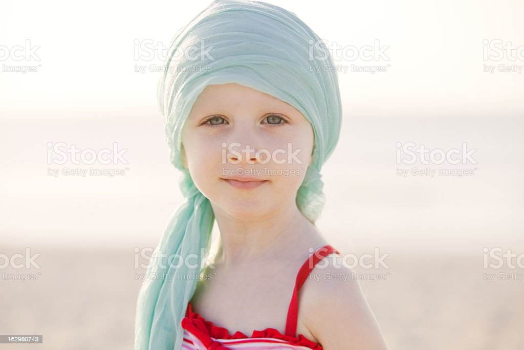 Serious Chemo Girl At The Beach stock photo