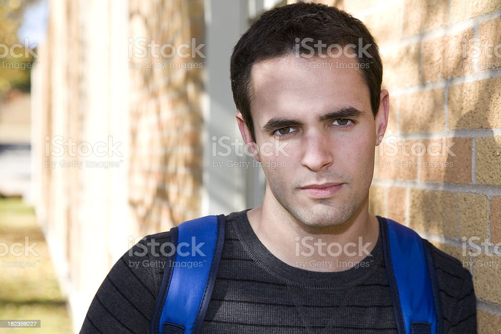 Serious College Student Portrait on Campus royalty-free stock photo