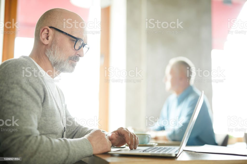 Serious concentrated senior male freelancer with beard and mustache sitting at table and working with laptop in public place stock photo