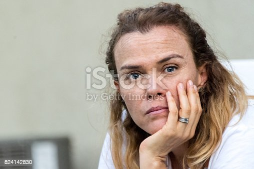 istock Serious concerned mature woman 824142830