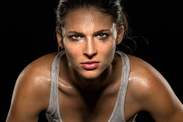 Serious confident stare athlete wrestler exercise trainer conviction focused powerful stock photo