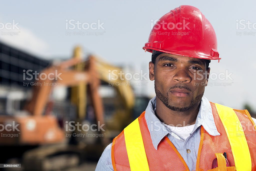 Serious Construction Worker stock photo