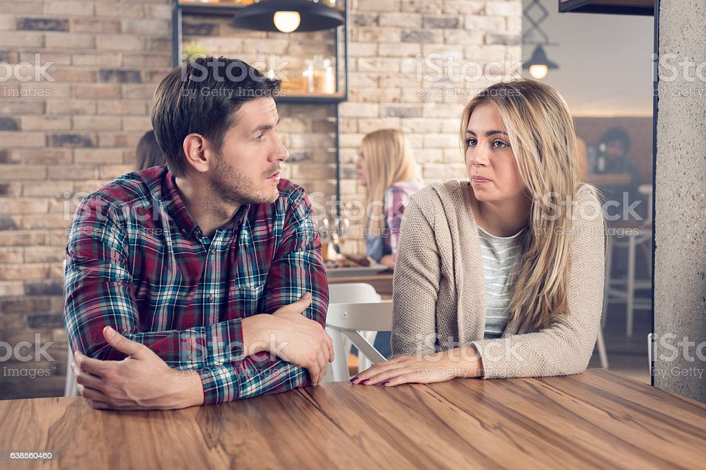 A serious conversation stock photo