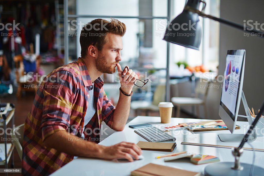 Serious designer stock photo