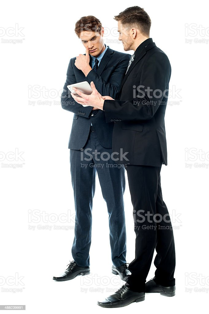 Serious discussion between corporates stock photo