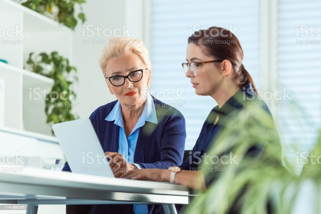 Serious entrepreneurs using laptop at desk Serious entrepreneurs using laptop at desk. Female expertise are working in start-up office. They are planning new strategies. 40-44 Years Stock Photo