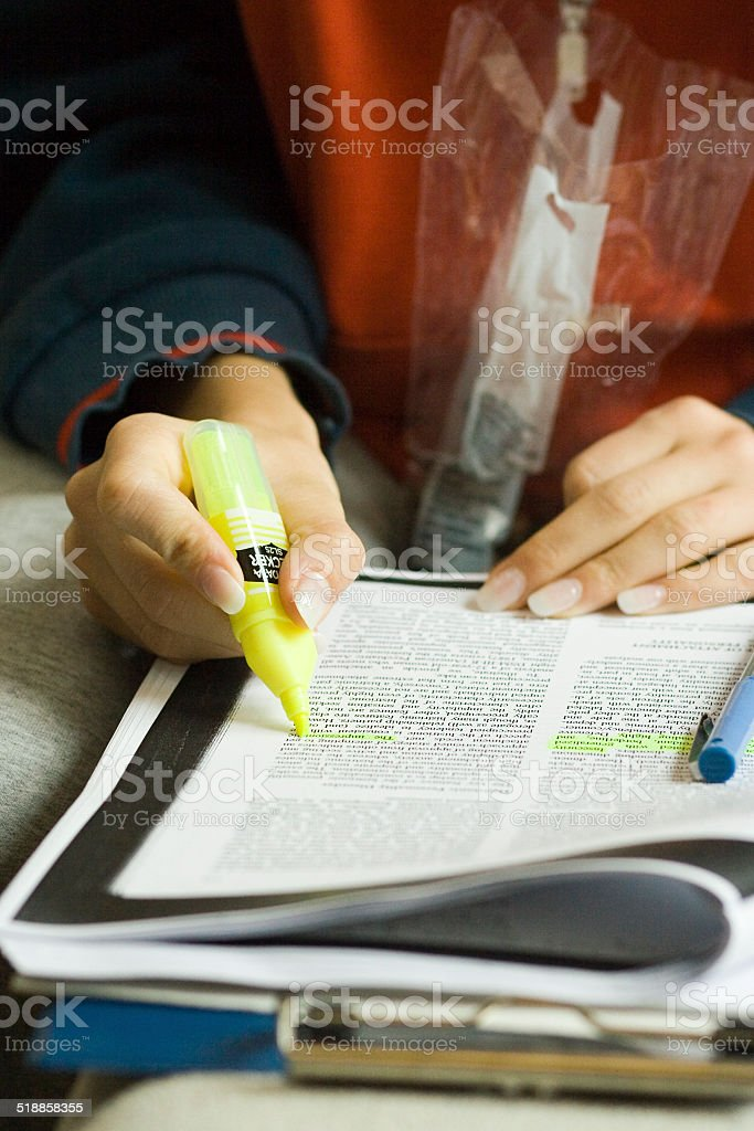 Serious exam prep stock photo