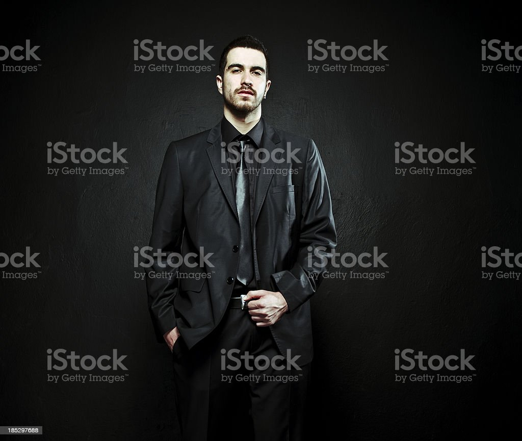 Serious executive in suit posing royalty-free stock photo