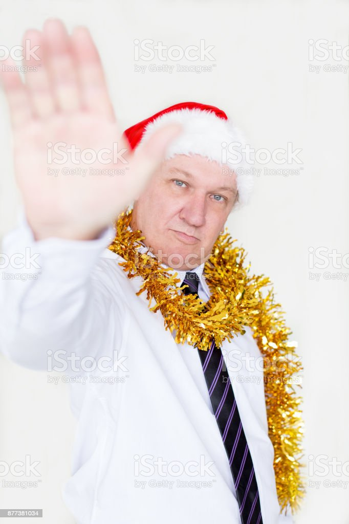 Serious executive making adamant rejection stock photo