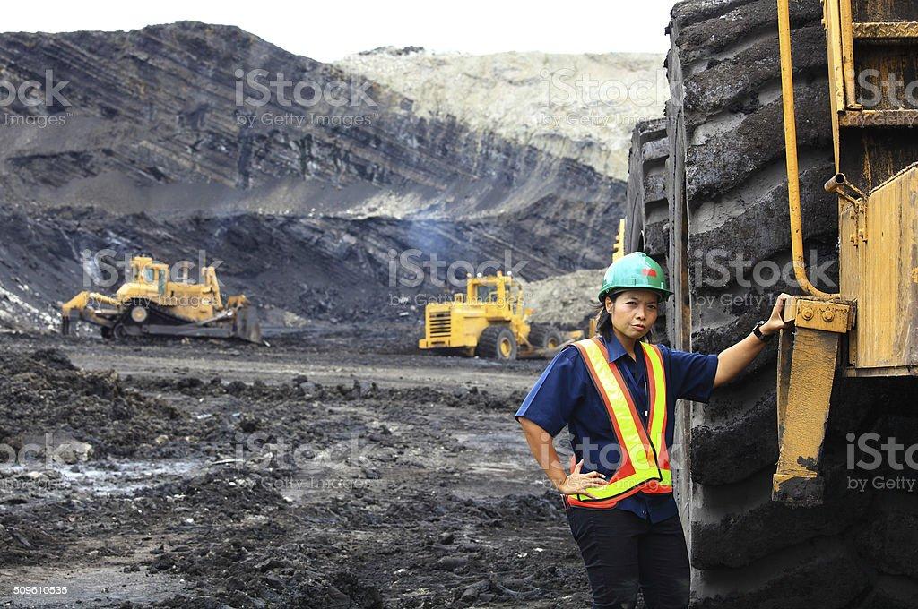 Serious Female Construction Woker stock photo