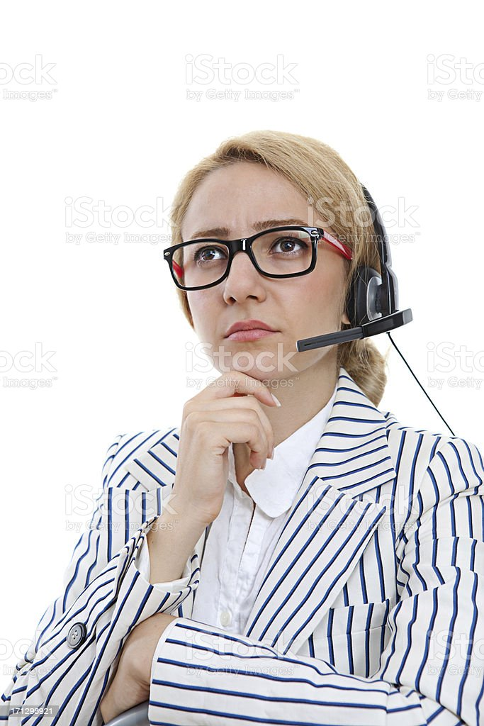 Serious female customer service representative royalty-free stock photo