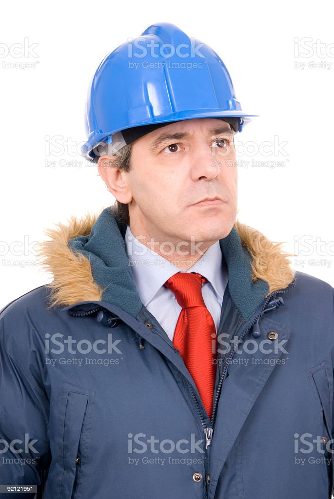 serious foreman looking in to the future. isolated on white royalty-free stock photo