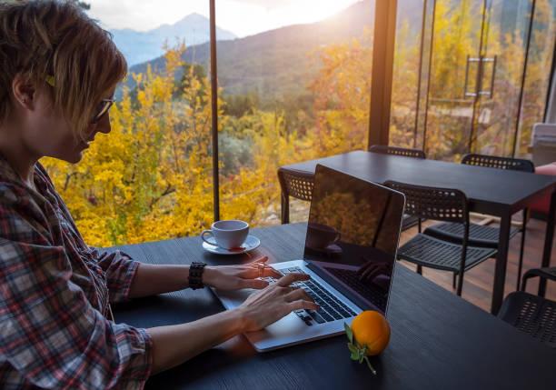 ernsthafte freiberufler mädchen schaut auf den monitor eines computers - reiseblogger stock-fotos und bilder