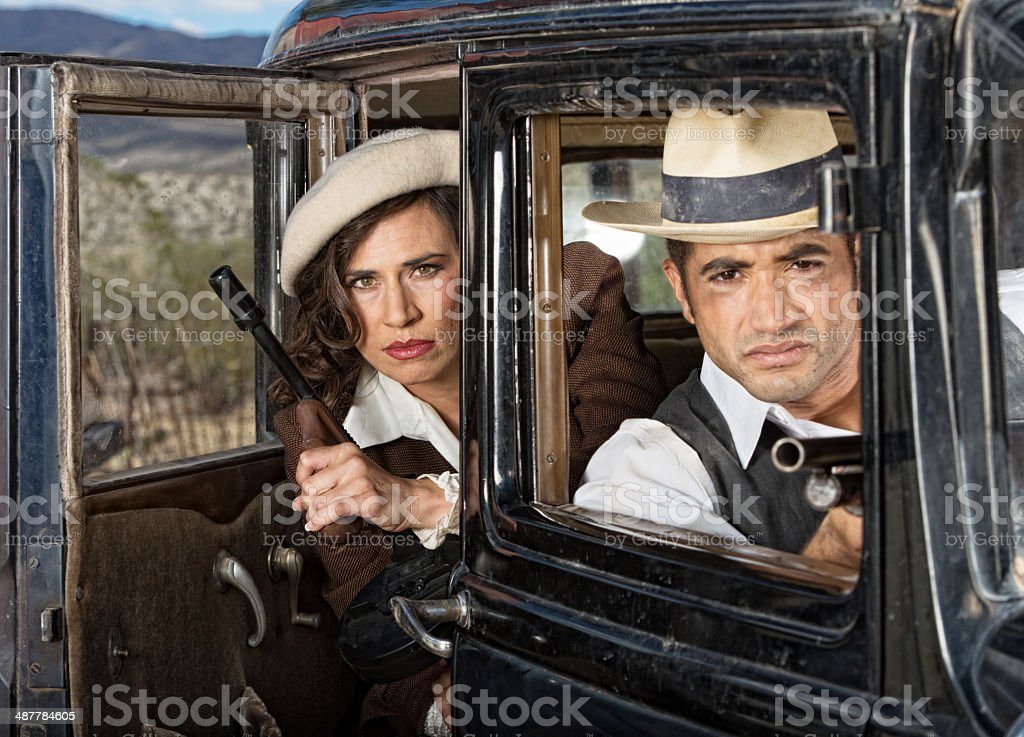 Serious Gangsters in Car stock photo