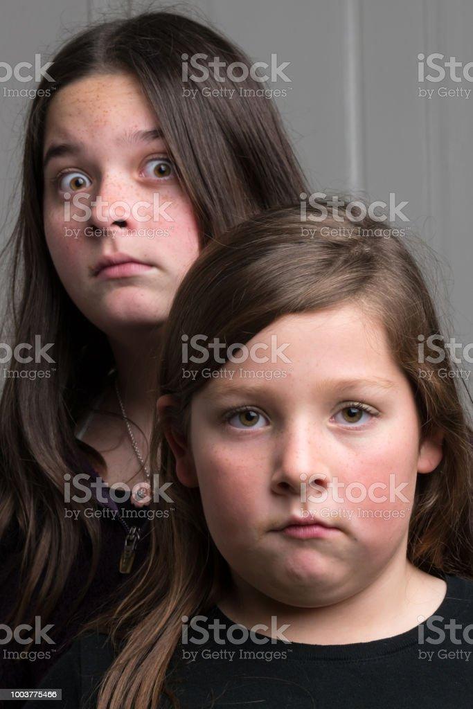 Serious girls stock photo