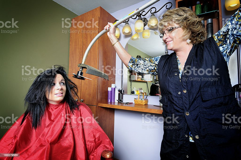 Serious Hair Treatment stock photo