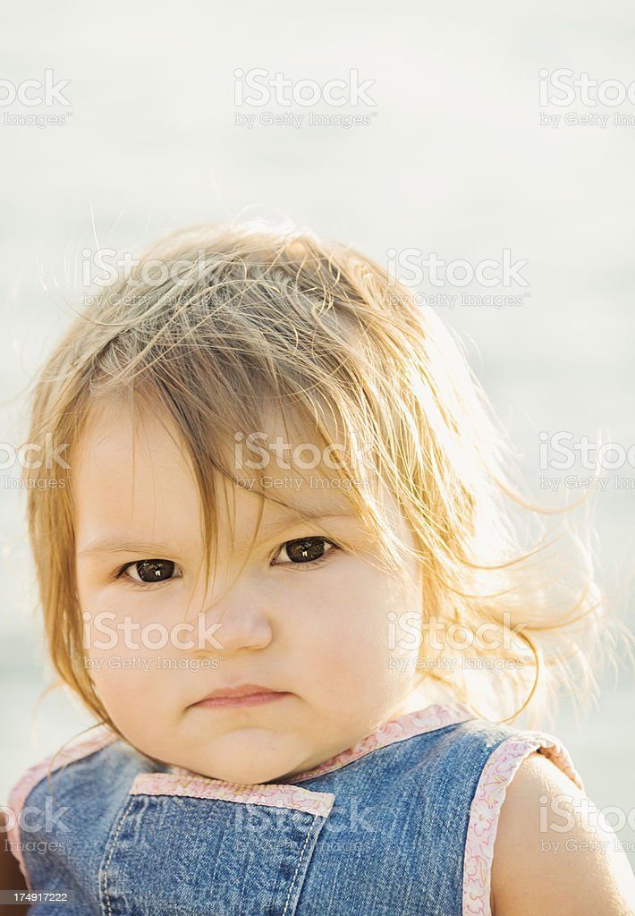Serious Little Girl with Copy Space royalty-free stock photo