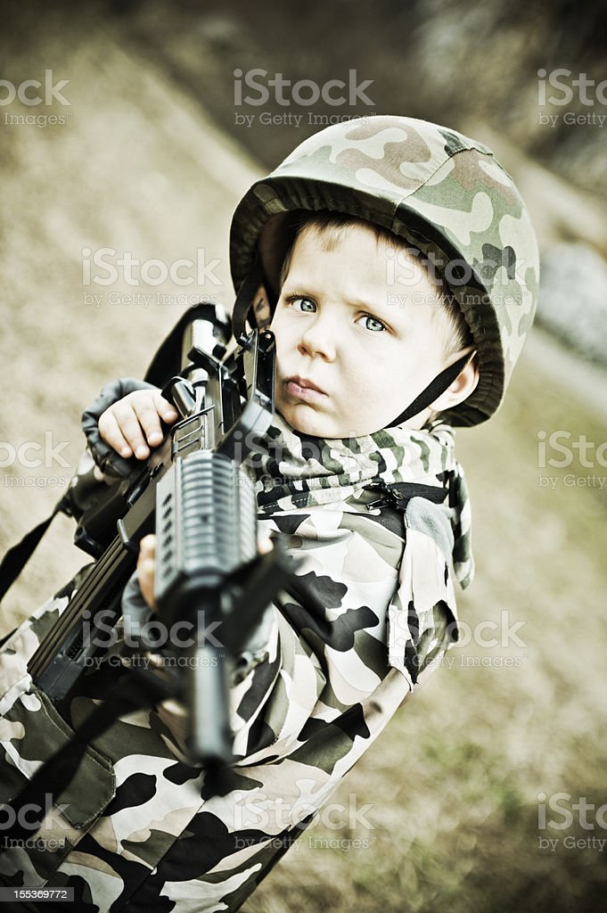 Serious little soldier royalty-free stock photo