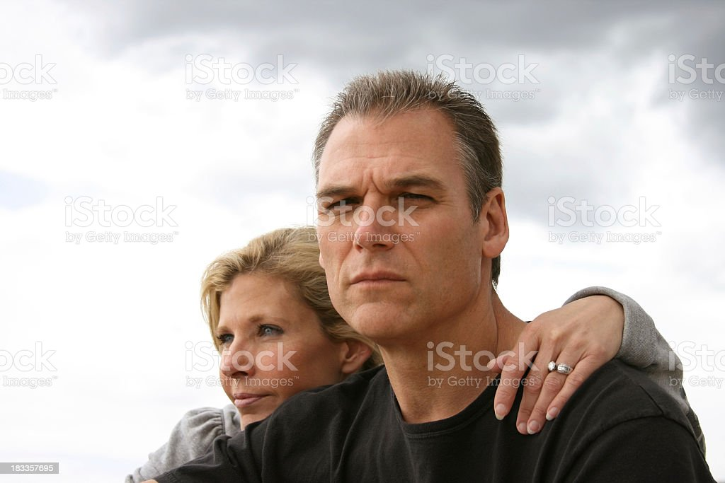 Serious looking older married couple royalty-free stock photo
