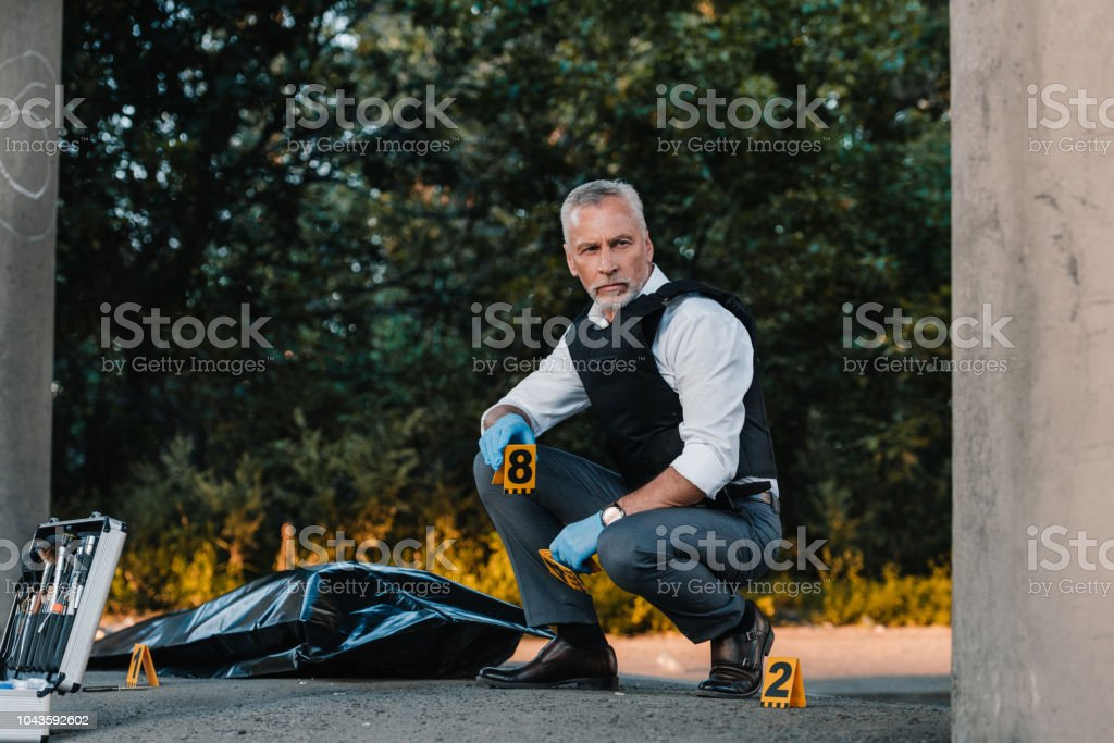 serious male police officer in latex gloves sitting at crime scene with corpse in body bag stock photo