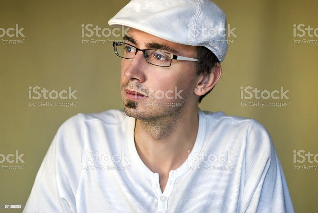 Serious man in white royalty-free stock photo